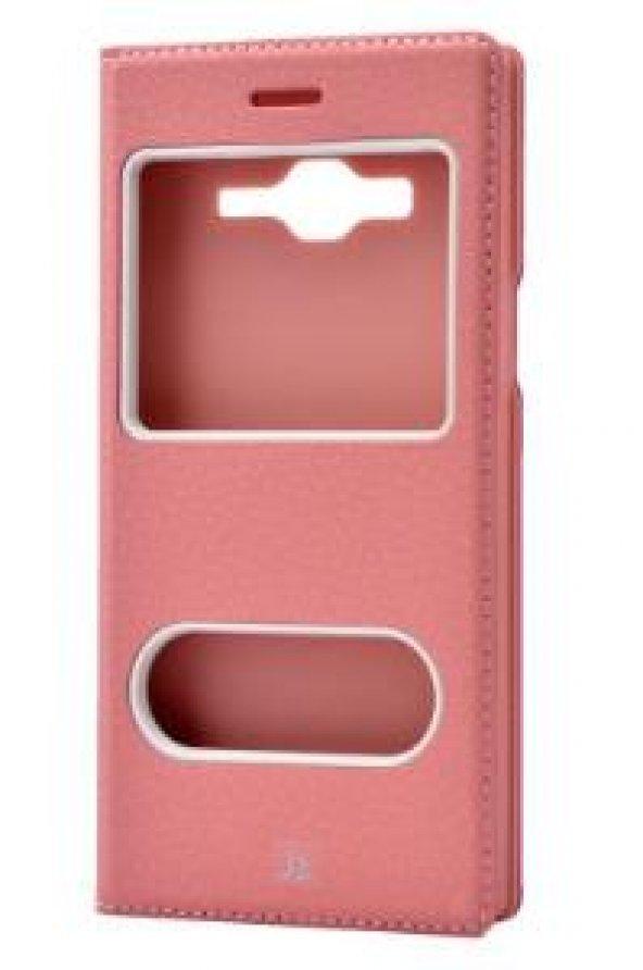Galaxy J3 Kılıf Zore Case kapaklı açık pembe