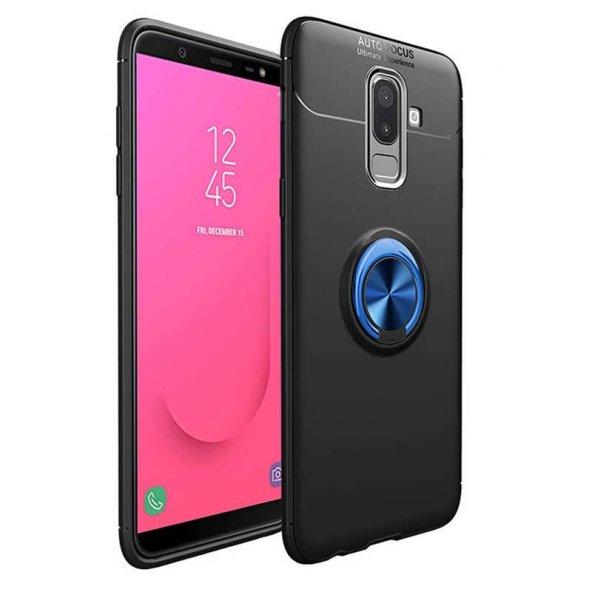 Samsung Galaxy J8 Ravel Silikon Kılıf Kapak Siyah-mavi