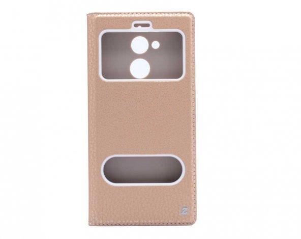 General Mobile 8 Kılıf Dolce Case Standlı kapaklı gold