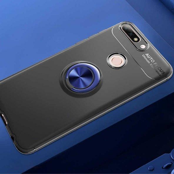 Huawei Y7 2018 Ravel Silikon kılıf kapak Siyah-mavi