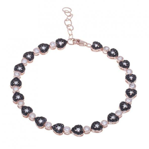 925 Ayar Gümüş Rose Rengi Siyah Zirkon Taşlı Kalpli Bileklik