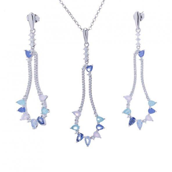 925 Ayar Gümüş Mavi Zirkon Taşlı Bayan Set