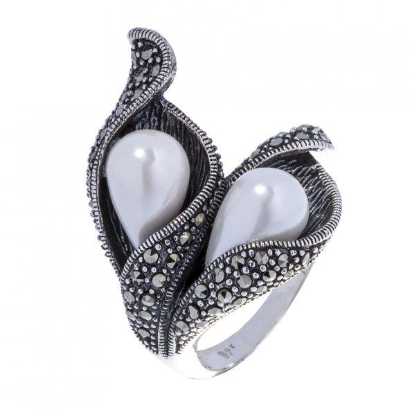 925 Ayar Gümüş Markazit Taşlı Çiçek Yüzük