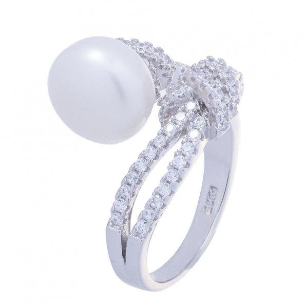 925 Ayar Gümüş Düğüm Model İncili Yüzük