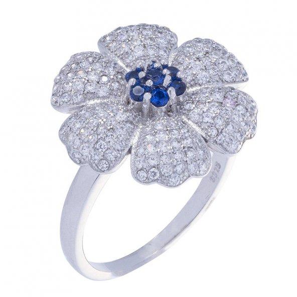 925 Ayar Gümüş Lacivert Zirkon Taşlı Çiçek Model Yüzük