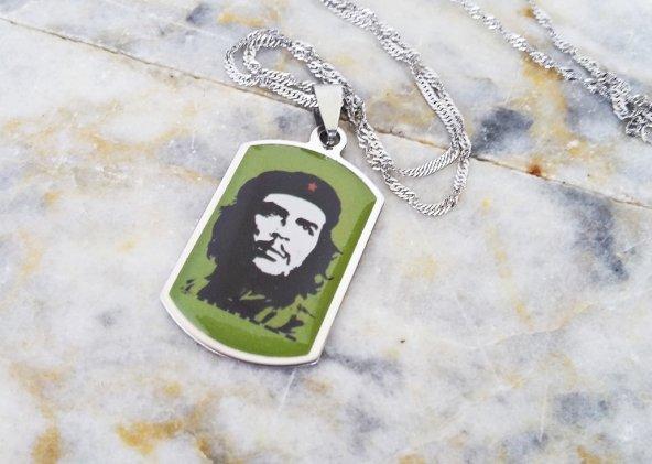 Che Guevara Çelik Bayan Erkek Unisex Kolye mçk198 Yeşil ve Gümüş Rengi