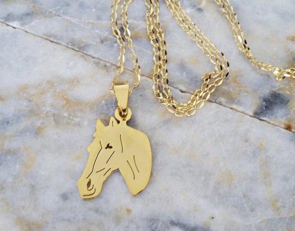 Altın Rengi At Çelik Bayan Kolye ve Zincir mçk182 Sarı Rengi At Kafası