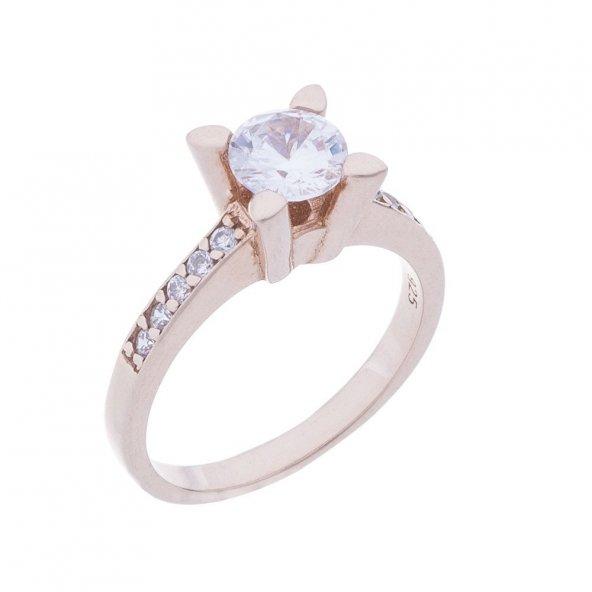925 Ayar Gümüş Rose Rengi Tek Taş Yüzük Model-1