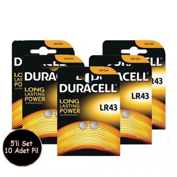Duracell  Alkalin Düğme Pil LR43 1,5 Volt 10 Adet