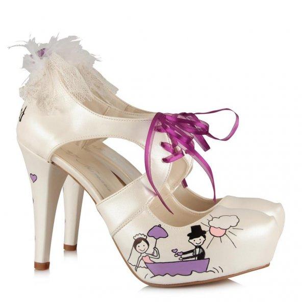 Mor Temalı Gelinlik Ayakkabı