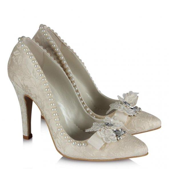 Gelin Ayakkabısı Stiletto  İncili Tasarım