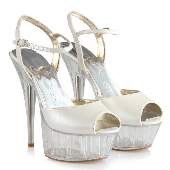 Gelin Ayakkabısı Platform Topuklu Şeffaf