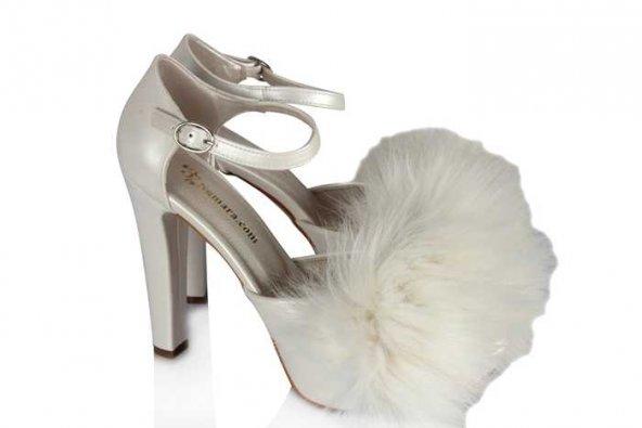 Nikah Ayakkabısı Kürklü Model