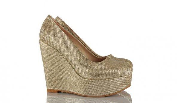 Dolgu Topuk Bayan Ayakkabı Dore Simli