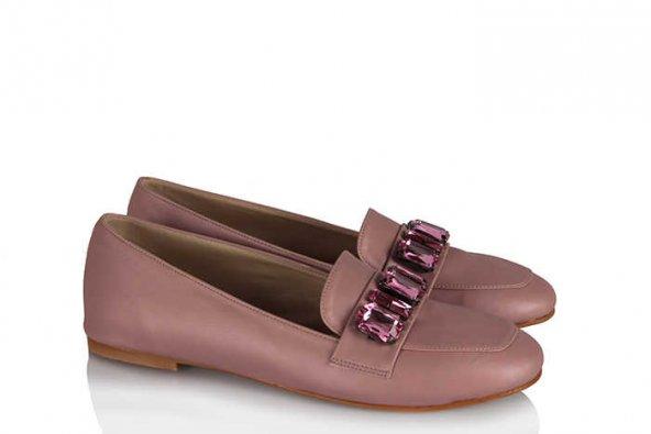Ayakkabı Babet Düz Model Pudra Taşlı