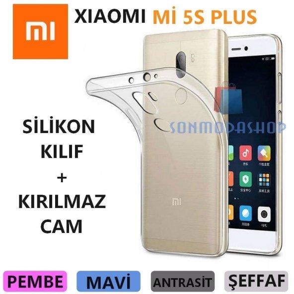 Xiaomi Mi 5S Plus Kılıf Mi 5S Plus Silikon Kılıf + Kırılmaz Cam