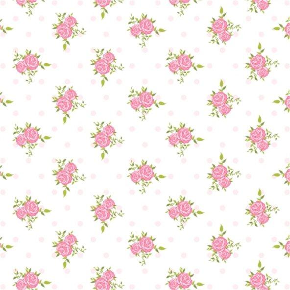 Beyaz Zemin Üzerine Koyu Pembe Gül Desenli Keçe Plaka (DK P142)