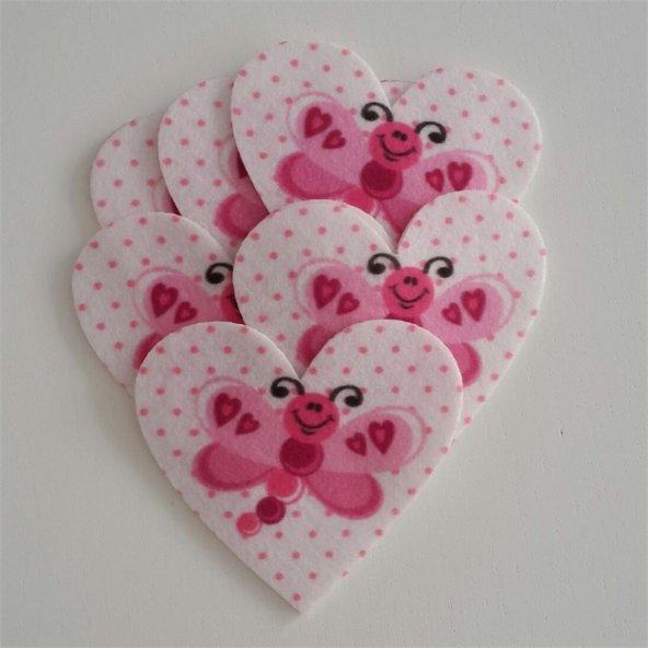 Pembe Kelebekli Kalp Şeklinde Keçe Aplike (DK 16)
