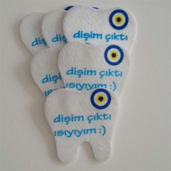 Mavi Yazılı Diş Şekilli Keçe Aplike (DK 21)