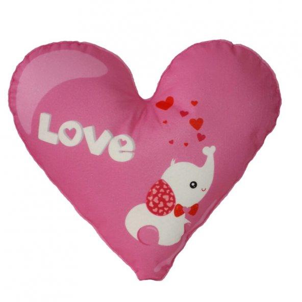 Pembe Kalp Dekoratif Yastık (Y 73)