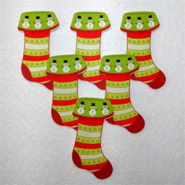 Yılbaşı Çorabı  Desenli Keçe Aplike (DK 65)