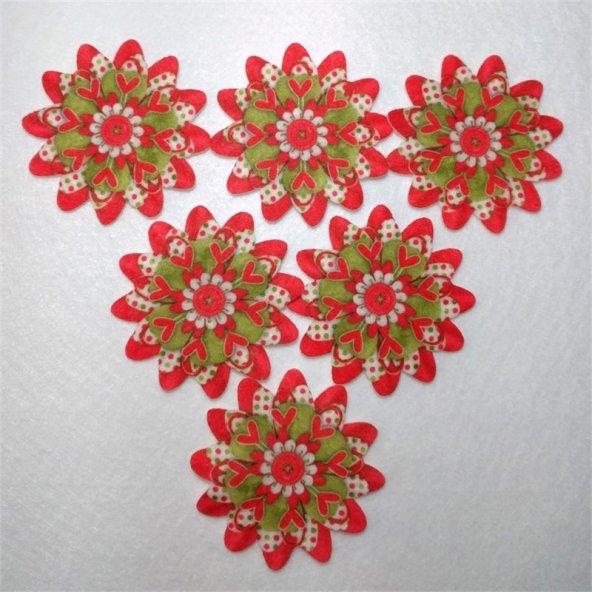 Yılbaşı Çiçeği  Desenli Keçe Aplike (DK 76)