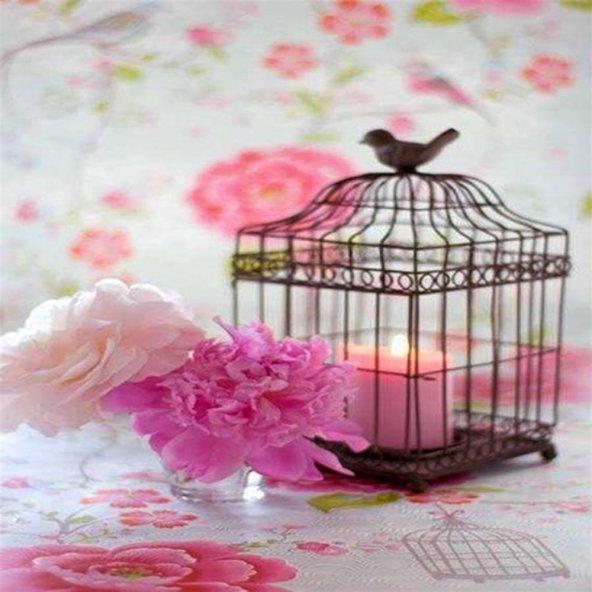 Kafes ve Çiçek- Desenli Keçe Plaka (DK P194)