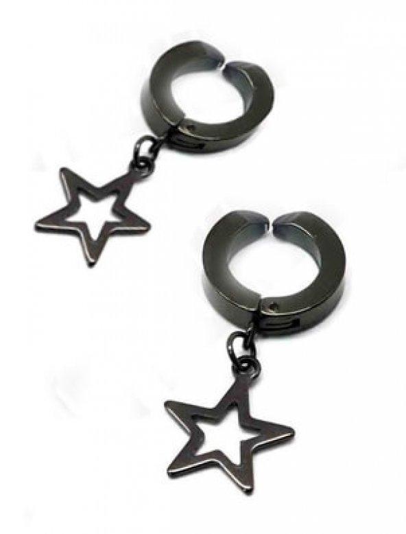 Deliksiz Kulaklar İçin Sıkıştırmalı Yıldız Uçlu Çelik Erkek Küpe