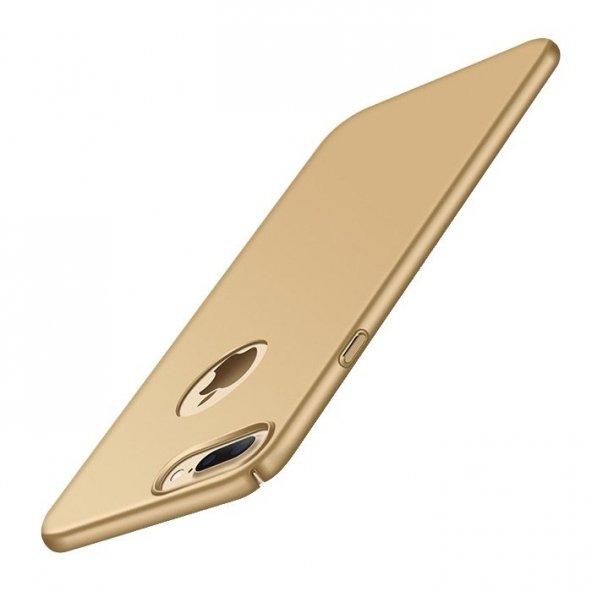 Apple iPhone 8 Plus Süet Yüzeyli Gold İnce Kılıf Arka Koruyucu Ka