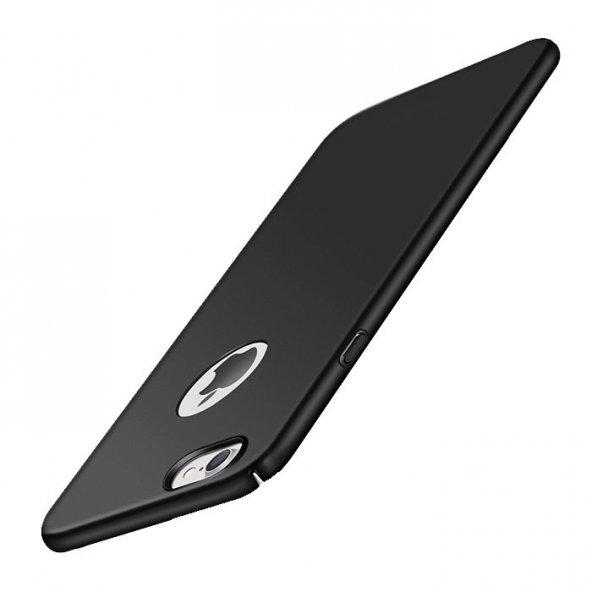 Apple iPhone 8 Süet Yüzeyli Siyah İnce Kılıf Arka Koruyucu Kapak