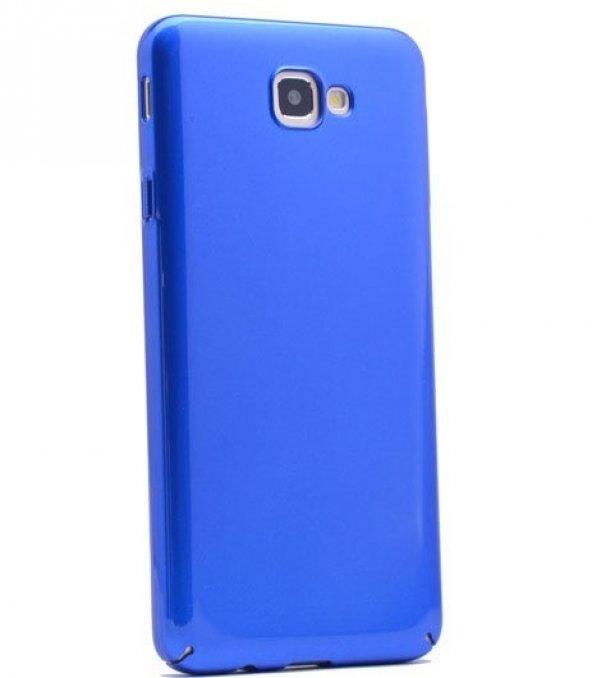 Samsung Galaxy J7 Prime Kılıf Parlak Arka Kapak Mavi + Kırılmaz C