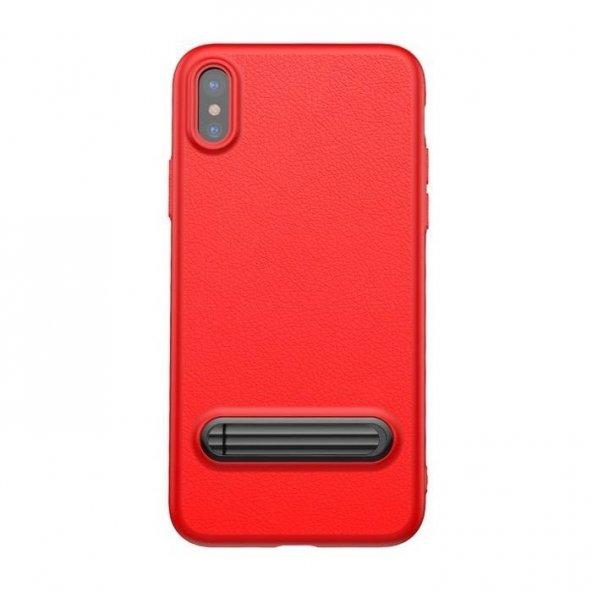 Baseus Kickstand iPhone X Kırmızı Kılıf Arka Koruyucu Kapak
