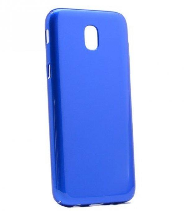 Samsung Galaxy J7 Pro Kılıf Cherry Kapak Mavi + Kırılmaz Cam Ekra