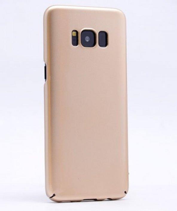 Samsung Galaxy S8 Plus Kılıf Cherry Kapak Gold + Eğimli Ped Ekra
