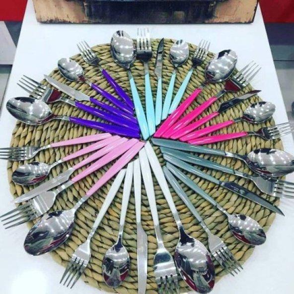 Çatal Kaşık Bıçak Takımı 30 Parça Fuşya