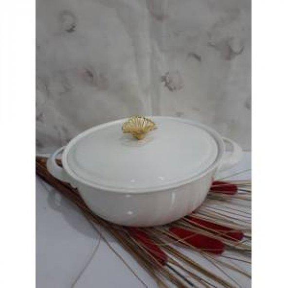 Porselen Fırın Kabı Servis Tabağı Kapaklı