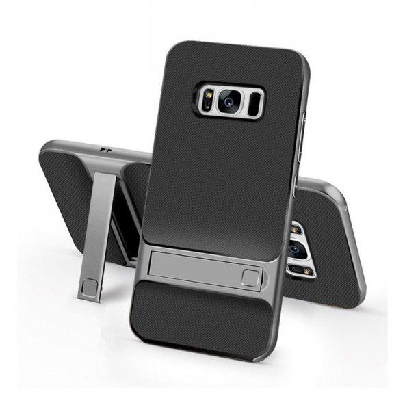 Samsung Galaxy S8 Plus Stand Koyu Gri Kılıf Arka Koruyucu Kapak