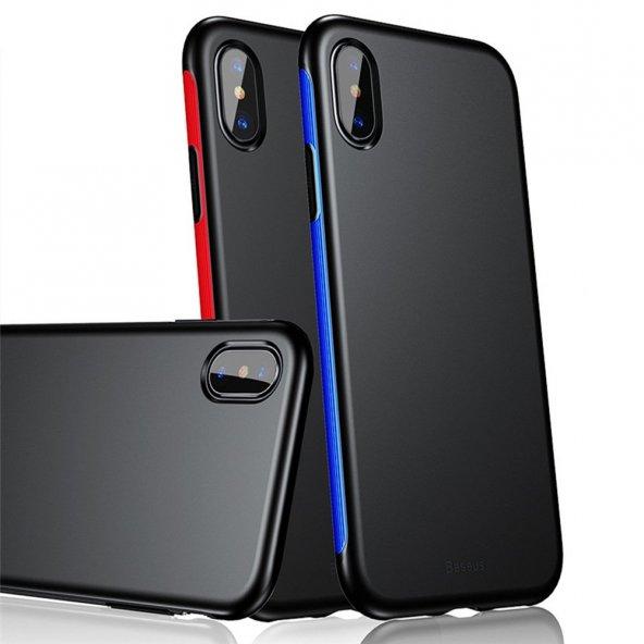 Baseus iPhone X Kılıf Bumper TPU Soft Kapak Kap + Temperli Cam Ek