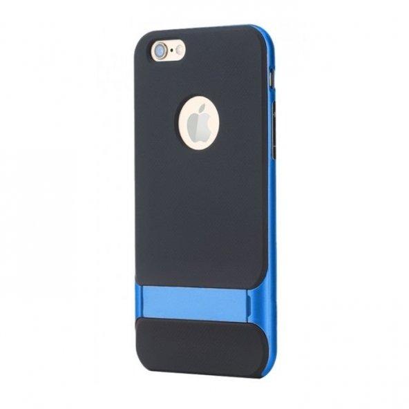 Apple iPhone 6 6S Plus Mavi Stand Kılıf Arka Koruyucu Kapak