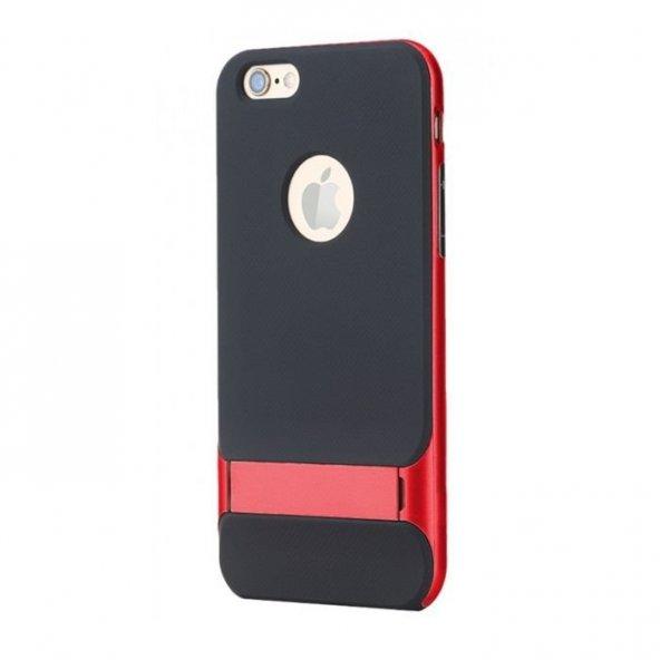 Apple iPhone 6 6S Kırmızı Stand Kılıf Arka Koruyucu Kapak