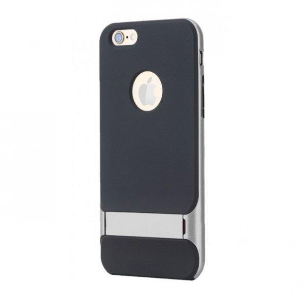 Apple iPhone 6 6S Plus Gri Stand Kılıf Arka Koruyucu Kapak