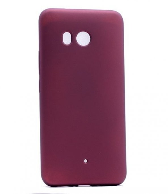HTC U11 Kılıf Silikon Premium Kapak Bordo + Kırılmaz Cam Ekran Ko
