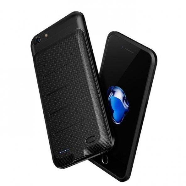 Baseus Ample iPhone 6 6S Plus Siyah Şarjlı Kılıf Arka Koruyucu Ka