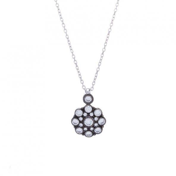 925 Ayar Gümüş Çiçek Model Otantik Kolye