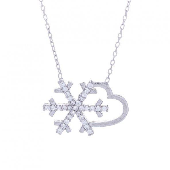 925 Ayar Gümüş Kalpli Kartanesi Kolye