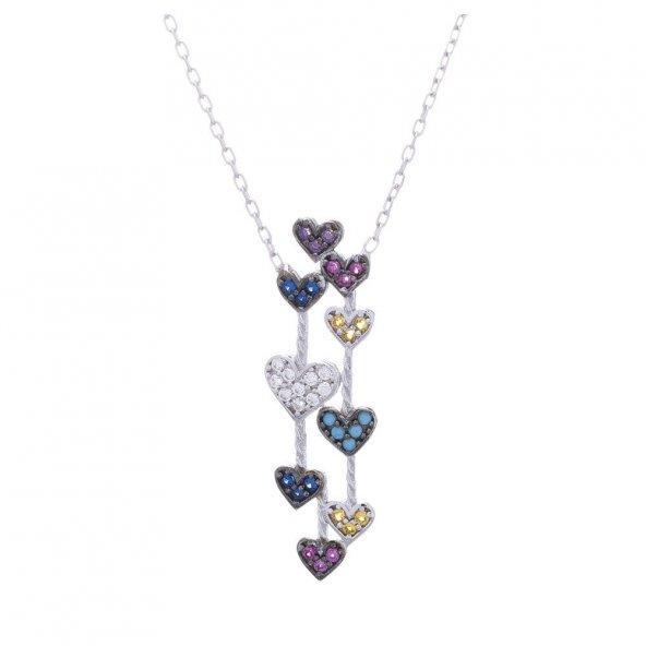 925 Ayar Gümüş Renkli Zirkon Taşlı Minik Kalpler Kolye