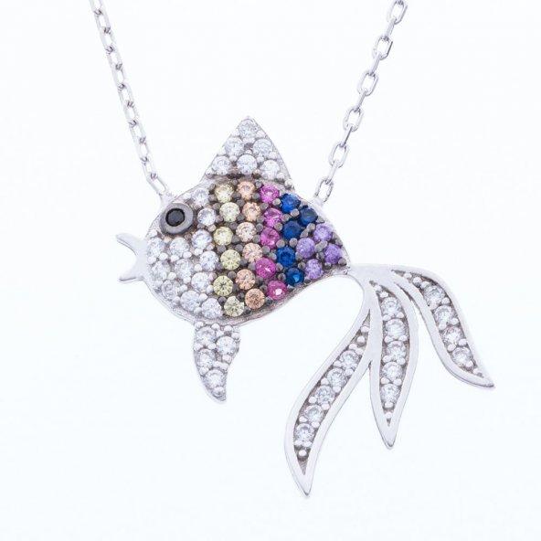925 Ayar Gümüş Renkli Taşlı Japon Balığı Kolye