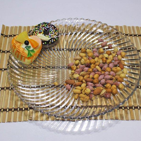 Kristal Cam Yuvarlak Servis,Sunum,Çerez,ÇokAmaçlı Tabak(30x30cm)
