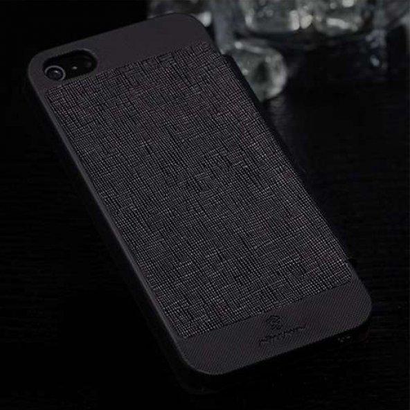 Apple iPhone 5S/5 Nillkin Marka Yan Model Dokulu Deri Kılıf - Siy