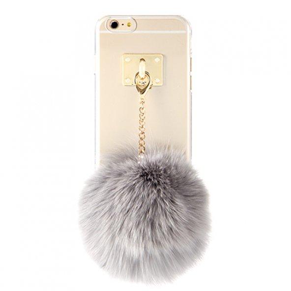 DDPOPSTYLE iPhone 7 / 8 Tüylü Ponponlu Kılıf Gri